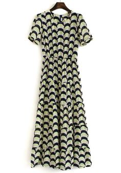Multicolor Patchwork Ruched Pleated Wrap Chiffon Dress