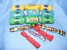 Vintage Old Christmas Tree Decoration Crackers Crepe Paper And Foil