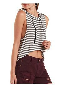 Striped High-Low Sleeveless Hoodie Tops Online Shopping, Sleeveless Hoodie, Charlotte Russe, High Low, Peplum, Sweaters For Women, Crop Tops, Hoodies, Fitness