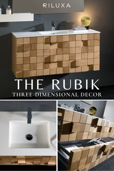 Rubik-our beautifully crafted 2-drawer wall-mounted vanity unit, with a Solid Surface single basin. Crafted entirely in solid oak (Northern Red oak), this floating vanity has a unique three-dimensional design to bring a sleek, modern feel to your bathroom. Can be customised to suit you over on Riluxa.com. #riluxa #bathroom #bathroomdecor #modernbathrooms #bathroomcabinetideas #bathroomcabinetmodern #bathroomvanity Bathroom Trends, Bathroom Renovations, Bathroom Ideas, Ikea Bathroom, Rustic Bathroom Shelves, Bathroom Storage Shelves, Modern Bathroom Design, Bathroom Interior Design, Interior Ideas