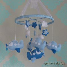 Felt Airplane Baby Mobile- Sea and Baby Blue Plane Mobile