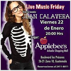 Te gusta Sacudir los Huesos? Este viernes tocaremos en @applebeesgt de @arkadiagt 8PM #juancalavera