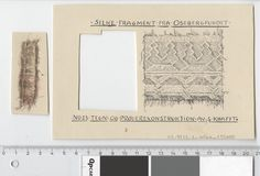 Oseberg Findings from folder 'Oseberg, textiles - silk': Silk Fabric 2, fragment 23. The character of Sofie Krafft: a / ink drawing ('trying construction') and b / watercolor ('character') and cut out. Measure A / B: 16.7 cm, H: 11.2 cm, b / B: 3 cm, H: 6,8 cm.