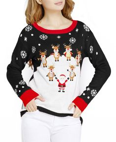 Ugly Christmas Sweater for Women Vintage Funny Merry Tunic Knit Sweaters Pullover Sweaters, Jumper, Christmas Sweaters, Christmas Clothes, Dress Me Up, Lady, Cute, Deer, Santa