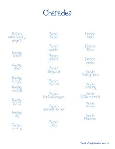 List Of Pictionary Words Easy Difficulty Love These Pinterest