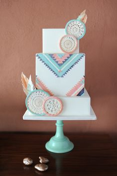 Southwestern flair meets soft pastels in this clean-lined cake.