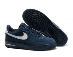 Nike Store. Mens Nike Air Force 1 Low Shoes - Navy Blue/White -