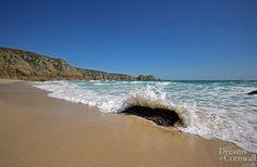 Wave crashing in a Porthcurno