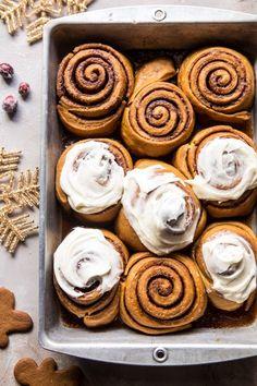 Overnight Gingerbread Cinnamon Rolls   halfbakedharvest.com @hbharvest Half Baked Harvest, Christmas Breakfast, Dessert Recipes, Desserts, Cinnamon Rolls, Pain, Holiday Recipes, Baked Goods, Sweet Tooth