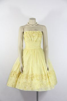 1950s Vintage Dress  Yellow Organdy by VintageFrocksOfFancy, $240.00