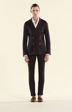 Gucci ink-light orange jersey dots motif double-breasted jacket