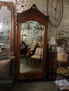 Beautiful Antique French Mirrored Door Armoire *SOLD* There is nothing like vintage furniture, the beauty exceeds anything you can buy today!! LOVE IT!!!