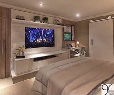 master room ideas New Ideas Bedroom Design Elegant Dream Rooms Bedroom Tv Stand, Bedroom Tv Wall, Home Decor Bedroom, Bedroom Furniture, Wall Tv, Wall Mural, Bedroom With Tv, Bedroom Shelving, Apartment Furniture