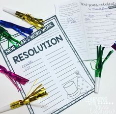 """Plan a New Year's """"party"""" for your students when you go back to school! These word work activities and hilarious fill-in-the-blank story (Mad Libs) are perfect for engaging students after winter break. Classroom Solutions, Classroom Ideas, Elementary Teacher, Upper Elementary, Student Teaching, Teaching Ideas, Word Creator, Word Work Activities, Mad Libs"""