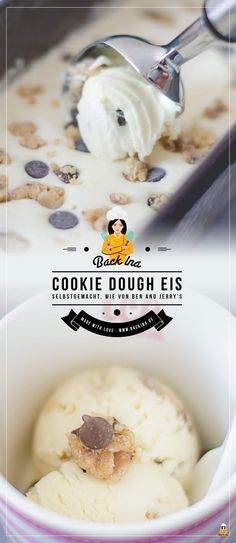 Make Cookie Dough Ice Cream as made by Ben & Jerry& BackIna.de - Do you like Cookie Dough ice cream like Ben & Jerry& You can easily make this ice cream at h - Cookie Dough Vegan, No Bake Cookie Dough, Cookie Dough Frosting, Cookie Dough Recipes, Chocolate Chip Cookie Dough, Snack Recipes, Snacks, Edible Cookies, Yummy Cookies