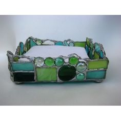 Emerald Stained Glass Napkin Holder