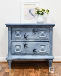 "15 Likes, 3 Comments - The Wood Spa by Pat Rios (@thewoodspa) on Instagram: ""AVAILABLE! Watercolor inspired nightstand with super cute swallow pulls! 26""L 24""H 16""D $145…"""