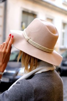 nude hat with rope details #style #fashion #accessories