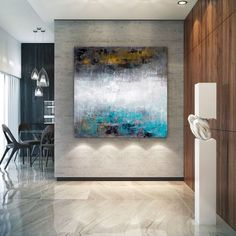 Large Modern Wall Art Painting,Large Abstract Painting on Canvas,square painting,canvas large,office wall art Large Abstract Wall Art, Large Artwork, Extra Large Wall Art, Large Painting, Painting Art, Knife Painting, Blue Abstract, Modern Abstract Art, Colorful Artwork