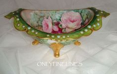 Sensational - Guerin - Limoges - France - Pedestal Footed Bowl - Hand Painted -  Romantic Victorian Bouquets - Pink Tea Roses - Coin Gold Highlights - Teal Enamel Beaded Jewels -  Vintage French Heirloom