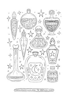 Colouring Pages on Behance Cute Coloring Pages, Adult Coloring Pages, Coloring Books, Tumblr Coloring Pages, Witch Coloring Pages, Drawing Sketches, Art Drawings, Tattoo Drawings, Tattoos