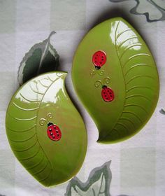 Leaf with Ladybug Ceramic Dish, bowl, plate, catchall, jewelry, ring, decor, soap dish, candle holder, teabag holder, spoonrest. by MadgeDishes on Etsy