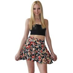 Selina's Floral Print Navy Flared Skirt