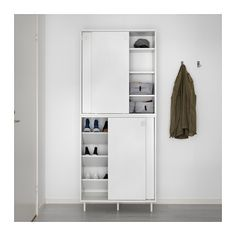 IKEA MACKAPÄR, Shoe storage cabinet, white, If you need more storage, you can place another cabinet on top of the first one. The shelves can be mounted flat or angled so that you can adapt them to the size of the shoes you are storing. Shoe Storage Cabinet White, Entryway Storage Cabinet, Ikea Shoe Cabinet, Ikea Entryway, Ikea Storage Cabinets, Entryway Shoe Storage, Bedroom Storage, Storage Shelves, Shoe Storage With Doors