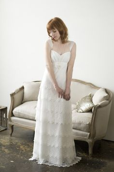 Elizabeth Dye Lace Layered Wedding Dress