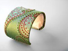 Paisley Green Necktie Cuff Bracelet with Swarovski Rhinestones
