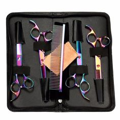 StarForest 7' Professional Pet Dog Cat Puppy Grooming Scissors Set Cutting Curved Thinning Shears Comb Trimmer Hair Cutting Tool, Rainbow Color *** Want additional info? Click on the image. (This is an affiliate link and I receive a commission for the sales)