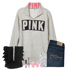 A fashion look from February 2016 featuring pink top, high rise jeans and tall black boots. Browse and shop related looks. 6th Grade Outfits, Ugg Australia, Maybelline, Lilly Pulitzer, Style Icons, Uggs, Graphic Sweatshirt, Comfy Clothes, Fashion Outfits