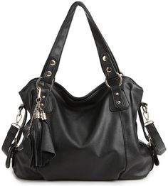 Hynes Eagle Womens Stylish Hobo Bags with Tassels (Black)