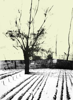 """Marta Galisz """"Ruptawa"""" litografia / pejzaż / lithography / landscape Madrid, Snow, Landscape, Outdoor, Outdoors, Scenery, Outdoor Games, The Great Outdoors, Corner Landscaping"""