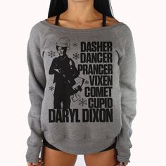 Daryl Dixon The Walking Dead Christmas Sweater. Super soft long sleeve fleece slouch sweater one of a kind original design by
