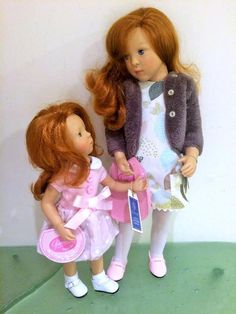 """Sylvia Natterer  artist designed dolls for Petitcollin, beautiful details and safely made in France and Spain. Two redheaded sisters - Zoe and  Natalile. Perfect on display together. 18"""" and 13"""", new in box."""