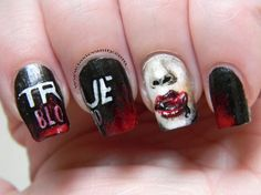 My True Blood Nails ;D my-nail-art True Blood, Cute Nails, Pretty Nails, Gorgeous Nails, Hair And Nails, My Nails, Dark Nails, Nail Polish Games, Blood Nails