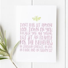 1 Timothy 4:12 - Don't ever let anyone look down on you because you are young - Bible Verse - Bible verse Print - Bible Verse wall art - She reads truth - Bee print - Pink and green print - Gifts for her - Gifts for girls - gifts for women - Bible verses for her - Bible verses for girls - Bible Verses for women