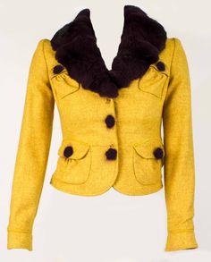 Blumarine Fine wool canary yellow with aubergine purple chinchilla fur collar. Cost £1,500 in 2010. - http://www.pandoradressagency.com/latest-arrivals/product/blumarine/