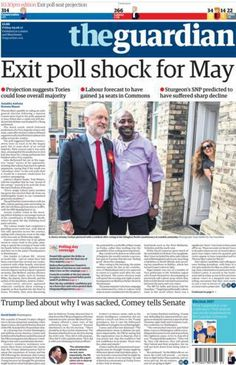 The Guardian front page. Friday 9th , June 2017 Newspaper   #FridayThoughts #paperstoday