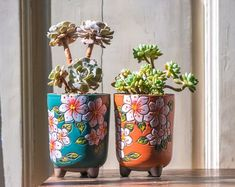 Set of 2 - Beautiful Flower Style Ceramic PlanterSucculent PlanterCeramic PlanterHome DecorSimple Giftgift idea Office Decor Pot by JasmineSupply Terrarium, Cactus Planta, Ceramic Planters, Simple Gifts, Plant Holders, Flower Fashion, Vase, Planting Succulents, Ceramic Art