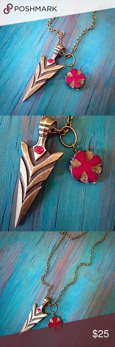 Brass arrow head with czech glass pendant necklace This brass arrow head pendant is simple but makes a bold fashion statement. Jewelry Necklaces