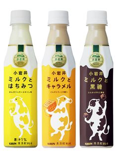 KIRIN - Koiwai Milk Dessert Series(Milk & Honey, Milk & Caramel, Milk & Brown Sugar) Honey Packaging, Cool Packaging, Beverage Packaging, Coffee Packaging, Bottle Packaging, Brand Packaging, Packaging Design, Milk Dessert, Japanese Packaging
