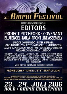 Amphi Festival 2016, July 23-24 in Cologne, Germany. Lineup includes Solitary Experiments, Project Pitchfork, Solar Fake, Megaherz and more