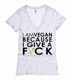 I Am Vegan Because I Give A F*CK - Deep V Neck Ladies Tee