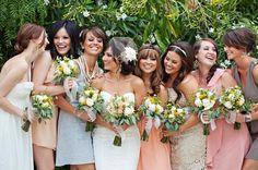 Peach + pink + cream + gray mix & match bridesmaid dresses