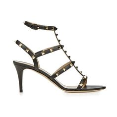 Valentino Rockstud leather sandals ($995) ❤ liked on Polyvore featuring shoes, sandals, studded sandals, leather shoes, black shoes, valentino shoes and leather sandals