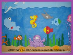 ♥ Descobrindo a Educação Infantil ♥: Decoração em EVA: Fundo do Mar Ocean Crafts, Fish Crafts, Diy And Crafts, Crafts For Kids, Arts And Crafts, Ocean Projects, Projects To Try, Turtle Classroom, Alphabet Drawing