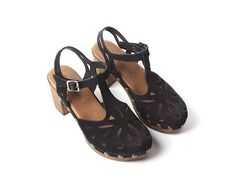 This vintage inspired, t-strap clog with laser cuts is so cute and comfortable. European sizing, fits true to size Suede leather upper Leather lining Padded fo Spring Sandals, T Strap, Suede Leather, Birkenstock, Clogs, Vintage Inspired, Nova, Collection, Products