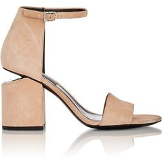 Alexander Wang Women's Abby Suede Sandals ($450) ❤ liked on Polyvore featuring shoes, sandals, heels, nude, heeled sandals, nude heeled sandals, wide heel sandals, block heel ankle strap sandals and high heeled footwear